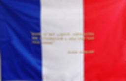 Flag with the sentence in French:Flag: 39,37 x 59 inches / Sentence gold 24K thread embroidered / Signed