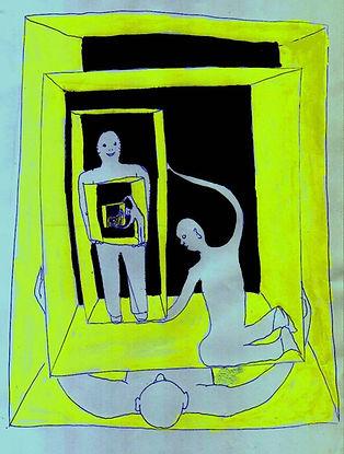 """Klaus Guingand artwork : """"Jeudi 16 heure """":  Drawing: 1969"""