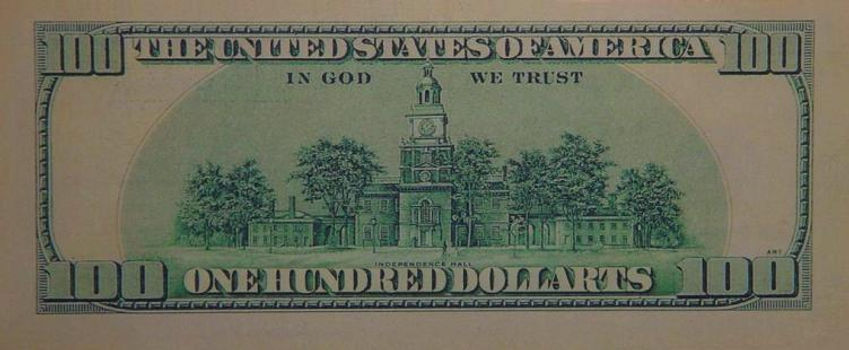 $ 100 Dollarts bill (KG) serial 1999. Back side: 6,14 x 2,59 inches.