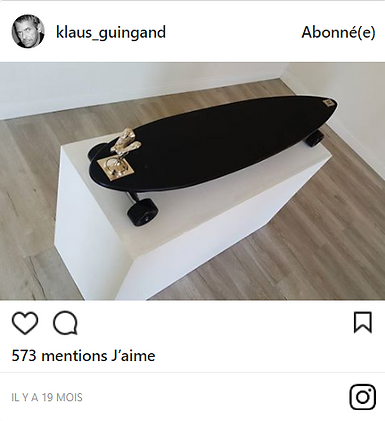 "klaus Guingand ""my new artwork Spirit of Ecstasy - Rolls-Royce longboard."""