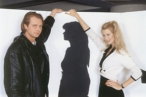 Klaus Guingand and Claudia Schiffer in 1995
