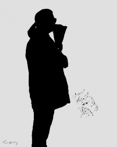 "Klaus Guingand artwork""Karl Lagerfeld's shadow"" 1995"