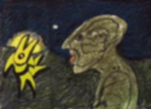"""Klaus Guingand artwork : """"La découverte de l'Homme aux six faces,28 ans après sa naissance."""" : Color drawing: 1,18 x 1,57 in.:1975"""