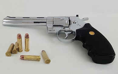 "Klaus Guingand artwork""Matthew 5.21""Colt Pyhton 357 Magnum  -  6 inches and six bullets."