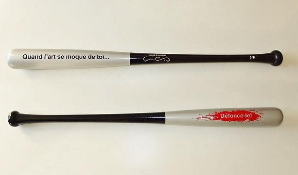 Klaus Guingand artwork:Défonce-le ! 2014 Batte de baseball bois peint; 81 cm , 1 Kg Œuvre réalisée à 8 exemplaires numérotés et signés