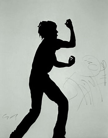 Iggy Pop's shadow  - 1990. Acrylic on canvas 78 ¾ X 59 1/8 in. Signed by Klaus Guingand and Iggy Pop.
