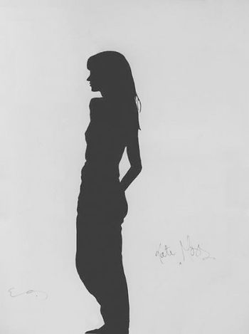 """Klaus Guingand Artwork """"Kate Moss's shadow""""1995.Acrylic on canvas 78 ¾ X 59 1/8 in. Signed by Klaus Guingand and Kate Moss"""