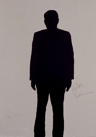 "Klaus Guingand Artwork ""Anthony Quinn's shadow"" - 1995 Acrylic on canvas 78 ¾ X 59 1/8 in. Signed by Klaus Guingand and Anthony Quinn."