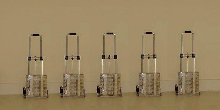 In God we trust, $ 5 millions dollarts on 5 hand trolley, Klaus Guingand artwork
