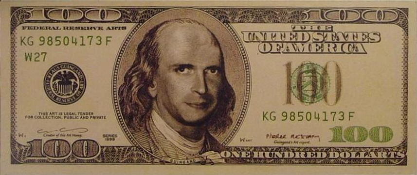 Artwork $ 100 Dollarts bill (KG) serial 1999. Front side: 6,14 x 2,59 inches. Signs by Klaus Guingand and Pierre Restany.