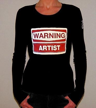 "Klaus Guingand T-shirt (woman) ""Warning Artist"""