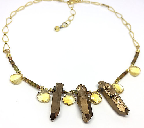 Golden Bronze Crystal Agate and Citrine Necklace