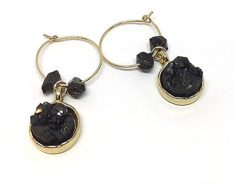 Black Druzy Agate Wire Hoops