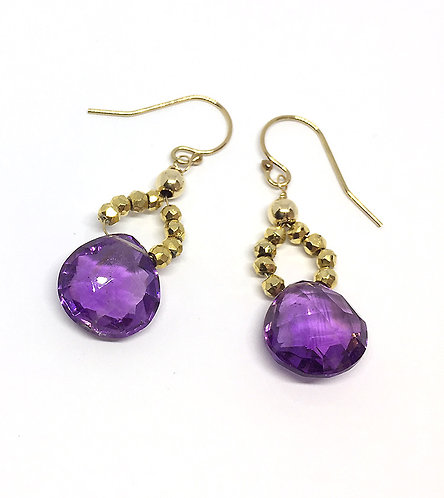 Amethyst and Agate Dangle Earrings