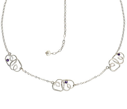 Silver and Amethyst Multiple Hearts Necklace