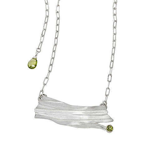 Silver and Peridot Textured Necklace