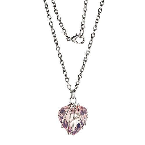 Pink Quartz Heart Pendant