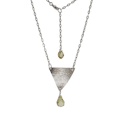 Silver Triangle Pendant with Lemon Quartz