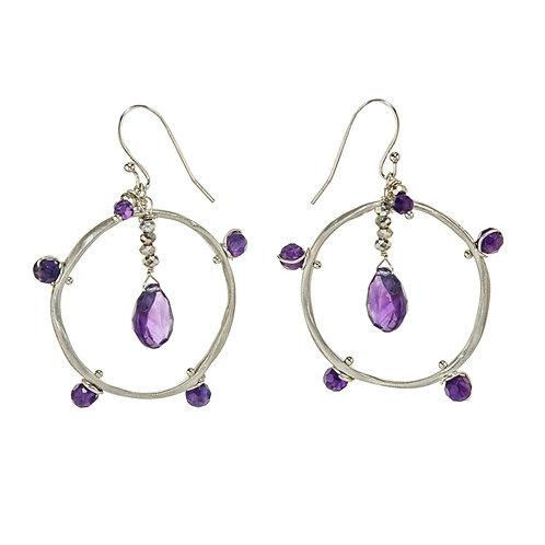 Silver & Amethyst Wave Link Earrings