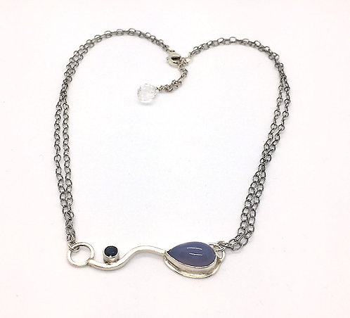 Chalcedony Pendant with Sapphire and Amethyst