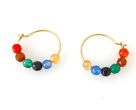Multi-Color Agate hoops