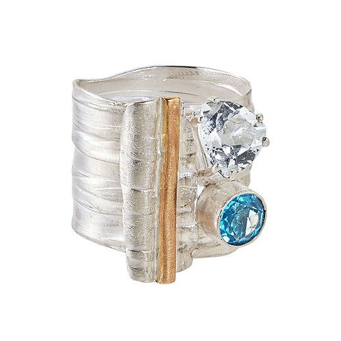 Mixed Metals and Topaz Textured Ring