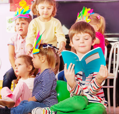 Group of kids and book