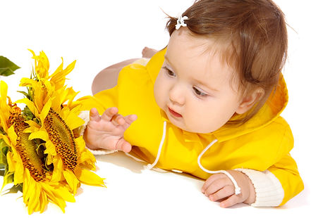 Baby looks at a Sunflower