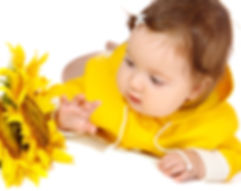 Baby girl with Sunflower