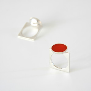 Pond ring - sterling silver and resin