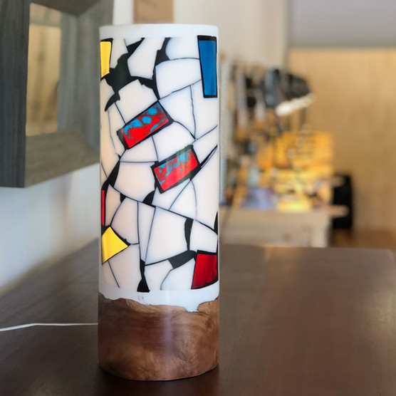 Smashed Mondrian - timber and resin lamp