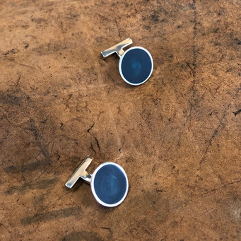 Pond cufflinks - sterling silver and resin