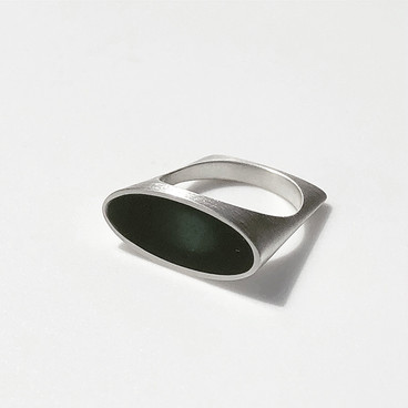 Scoop ring - sterling silver and resin
