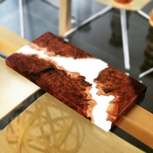 Australian hardwood burl and resin serving board
