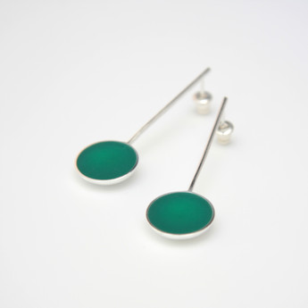 Pond earrings - sterling silver and resin