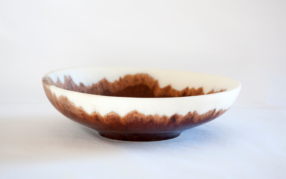 Australian hardwood burl and white resin bowl