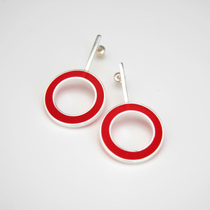 Hoop earrings - sterling silver and resin