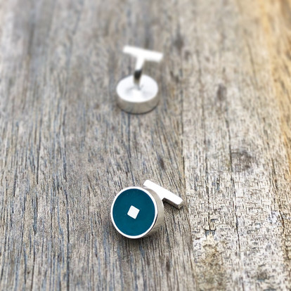 Geo cuff links - sterling silver and resin
