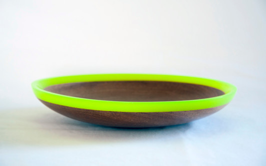 Timber and flourescent green resin bowl