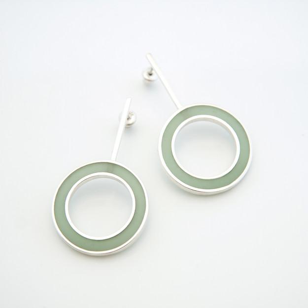 Hoop earrings - sterling silver and resin