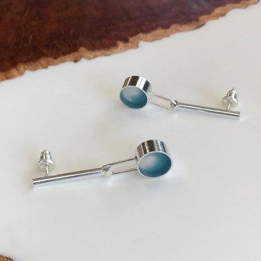 Hinge earrings - sterling silver and resin