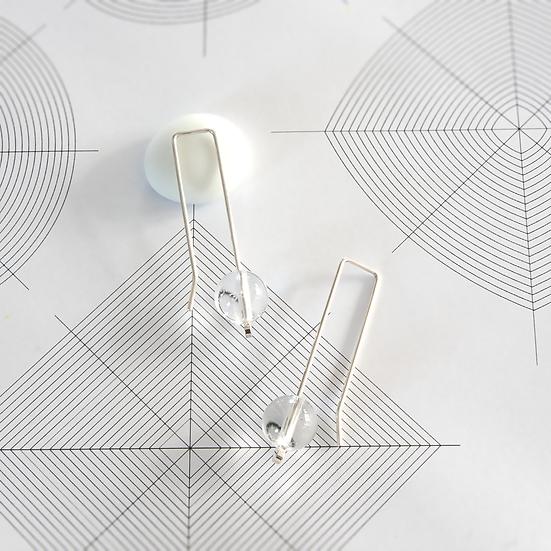 'Minimal' drop earrings with crystal quartz