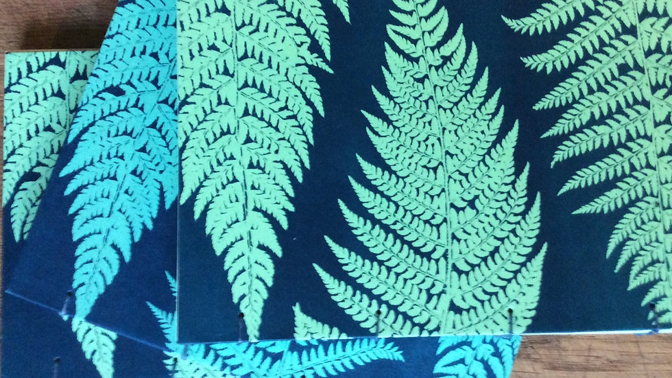 Sunprinted Green fern Sketchbook
