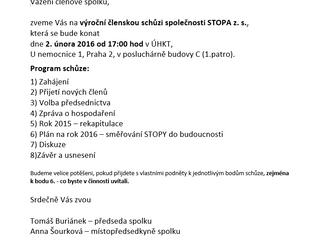 Výroční schůze společnosti Stopa z.s.