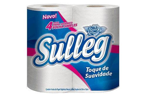 Papel higiênico Folha Simples Sulleg 4 rolos de 30m