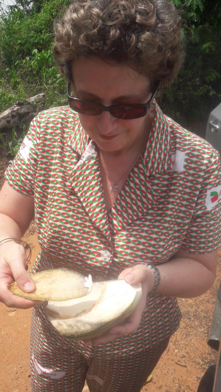 Liz with coconut