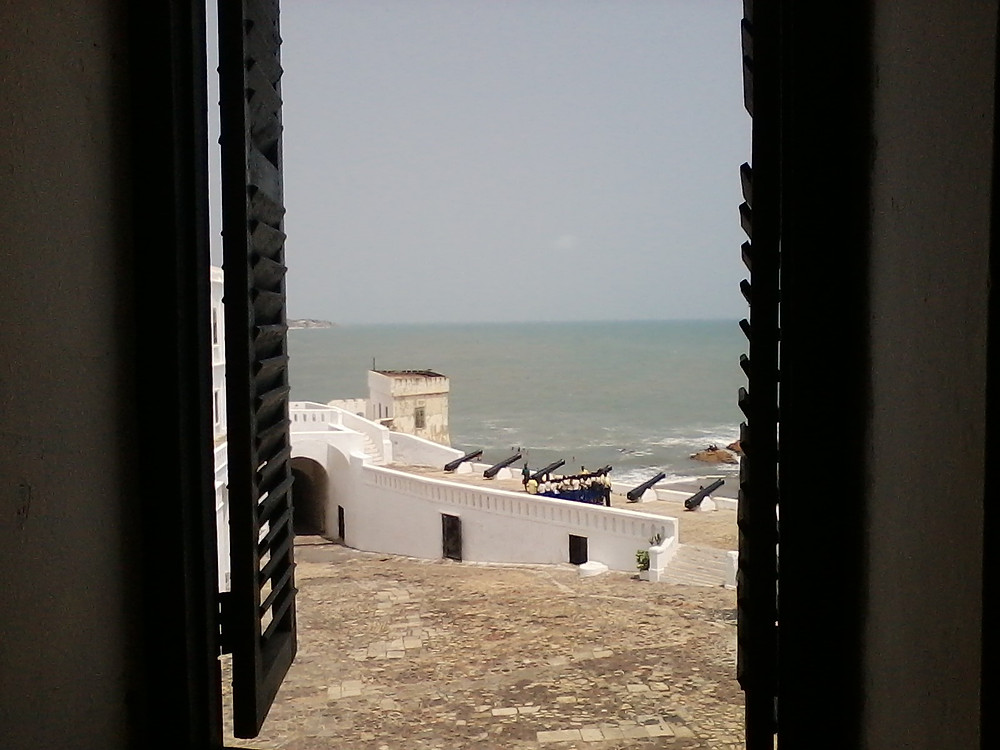 Inside Cape Coast castle, looking out at the defences