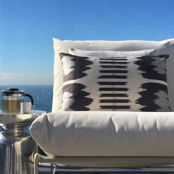 Double sided, greys + cream silk ikat cushion cover