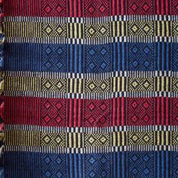 Indian striped cotton throw (red/yellow/white/blue/black)