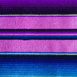 Pink themed, striped Mexican woollen blanket